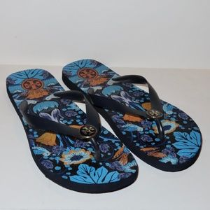 Tory Burch Flip Flops Floral Blue